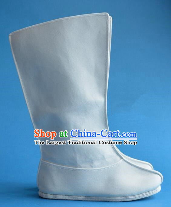 Chinese Traditional Beijing Opera Shoes Ancient Qing Dynasty Minister White Boots for Men