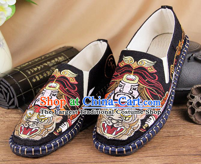 Chinese National Shoes Traditional Black Cloth Shoes Embroidery Multi-layered Shoes for Men