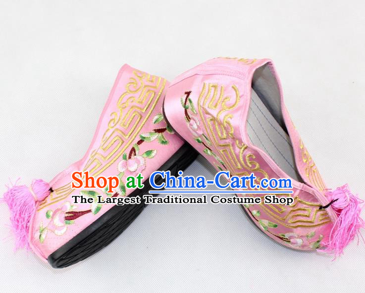 Chinese Traditional Beijing Opera Pink Blood Stained Shoes Ancient Handmade Princess Embroidered Shoes for Women