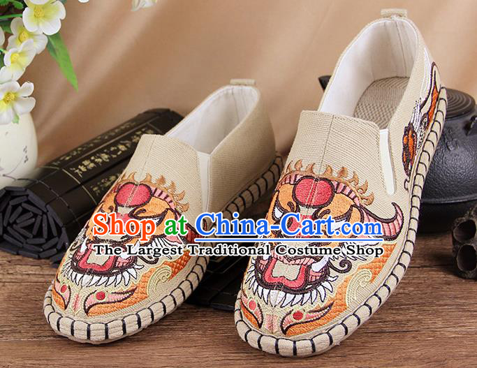 Chinese National Shoes Traditional Cloth Shoes Embroidery Beige Shoes for Men