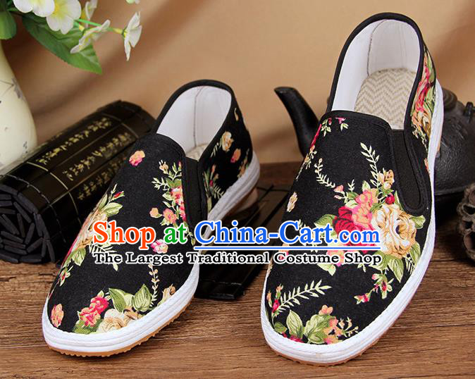 Chinese National Shoes Traditional Black Cloth Shoes Monk Shoes for Men