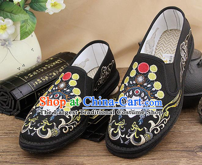 Chinese National Shoes Traditional Martial Arts Cloth Shoes Embroidery Facial Makeup Shoes for Men