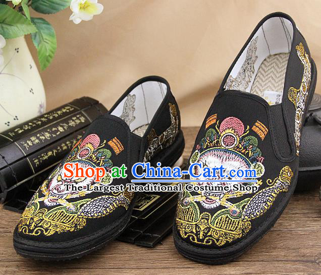 Chinese National Shoes Traditional Martial Arts Cloth Shoes Embroidery Monkey King Shoes for Men