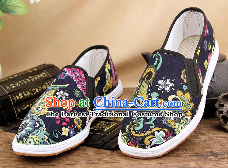 Chinese National Shoes Traditional Martial Arts Cloth Shoes Black Shoes for Men