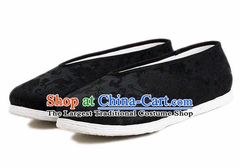 Chinese National Shoes Traditional Cloth Shoes Black Satin Shoes for Men