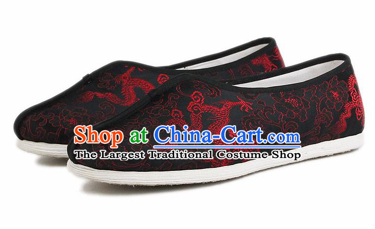 Chinese National Cloth Shoes Traditional Embroidered Dragon Shoes Black Satin Shoes for Men