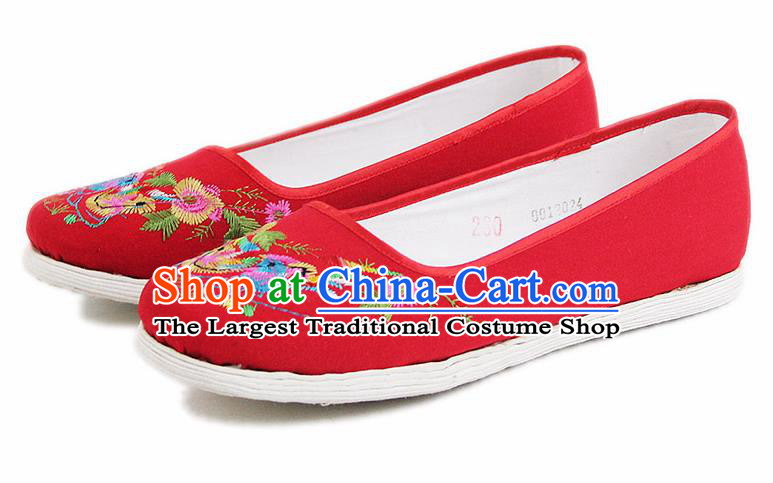 Chinese National Handmade Cloth Shoes Traditional Shoes Embroidered Mandarin Duck Red Shoes for Women