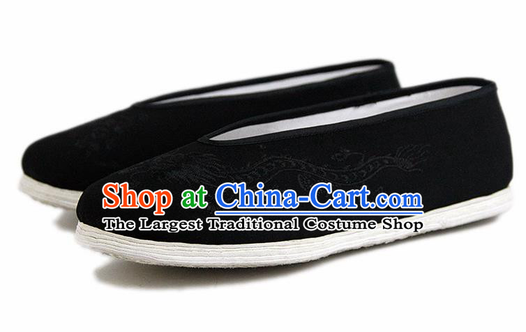 Chinese National Black Cloth Shoes Traditional Martial Arts Shoes Embroidery Dragon Shoes for Men