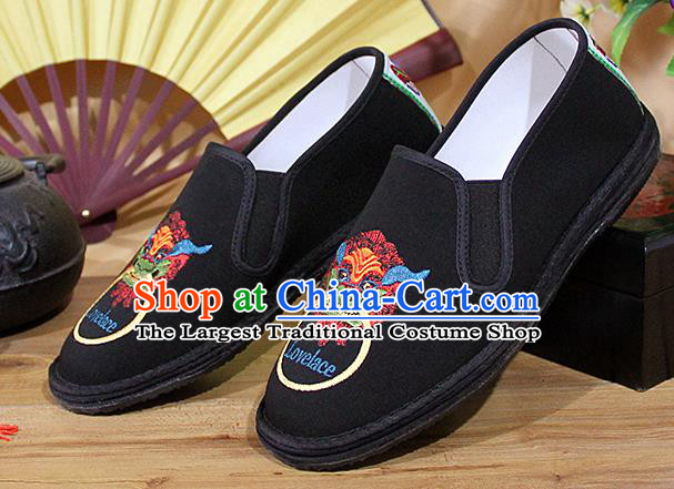 Chinese National Shoes Traditional Embroidery Lion Cloth Shoes Black Shoes for Men