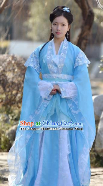 Chinese Ancient Peri Blue Hanfu Dress Song Dynasty Princess Embroidered Historical Costumes for Women