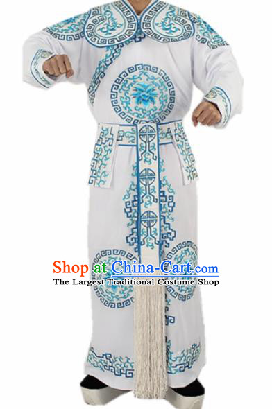 Chinese Traditional Peking Opera Takefu White Costumes Ancient Swordsman Clothing for Men