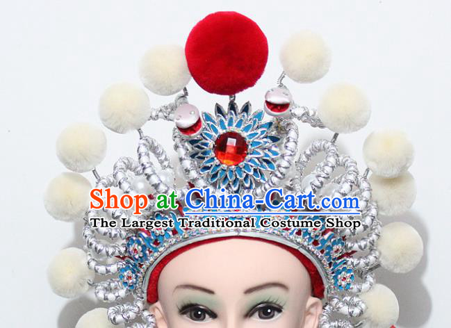 Chinese Traditional Peking Opera Blues Hair Accessories Ancient Female Warriors Helmet for Women