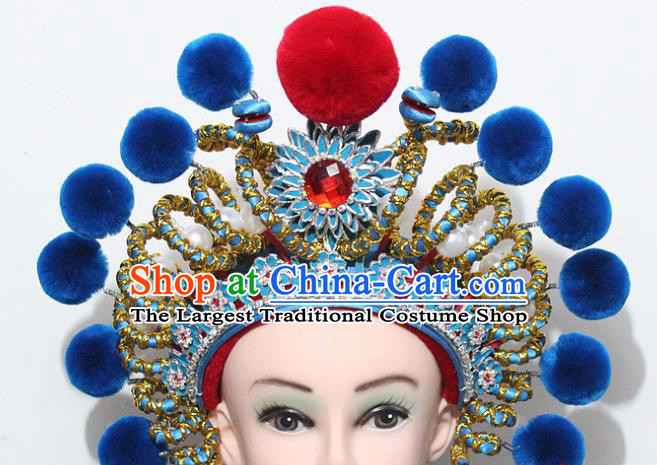 Chinese Traditional Peking Opera Blues Hair Accessories Ancient Female Warriors Blue Venonat Helmet for Women