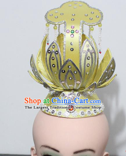 Chinese Traditional Peking Opera Hair Accessories Ancient Prince Yellow Lotus Hair Crown Headwear for Men