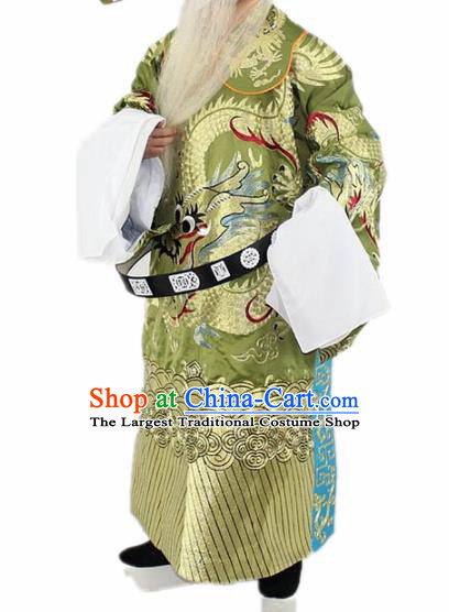 Chinese Traditional Peking Opera Old Gentleman Olive Green Costumes Ancient Prime Minister Clothing for Men