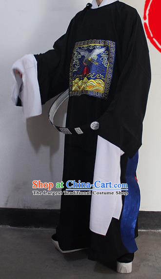Chinese Traditional Peking Opera Niche Black Robe Ancient County Magistrate Costumes for Men
