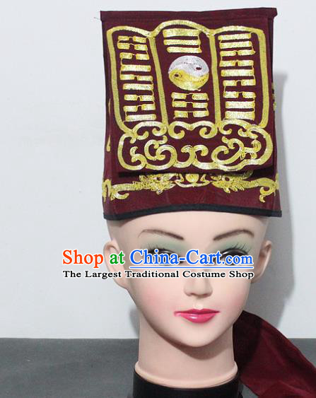 Chinese Traditional Peking Opera Taoist Red Hat Ancient Taoism Handkerchief for Men