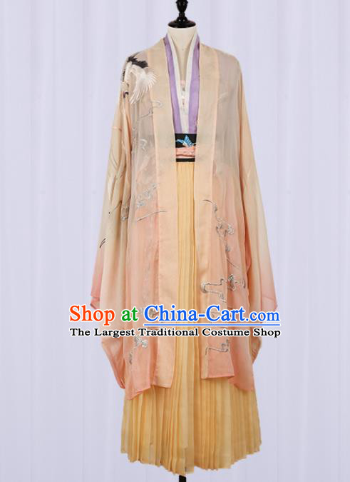Chinese Ancient Jin Dynasty Princess Hanfu Dress Traditional Embroidered Costumes for Women