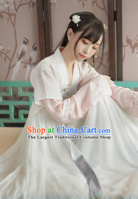 Chinese Ancient Tang Dynasty Palace Lady Hanfu Dress Traditional Embroidered Costumes for Women