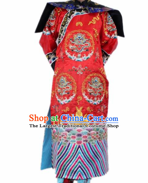 Chinese Traditional Peking Opera Costumes Ancient Qing Dynasty Queen Red Clothing for Women