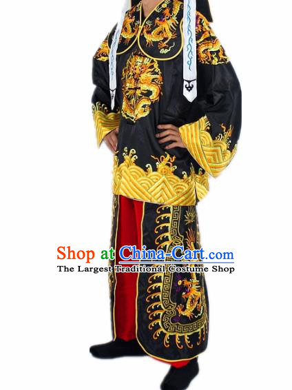 Chinese Traditional Peking Opera Takefu Black Costumes Ancient Imperial Bodyguard Swordsman Clothing for Men