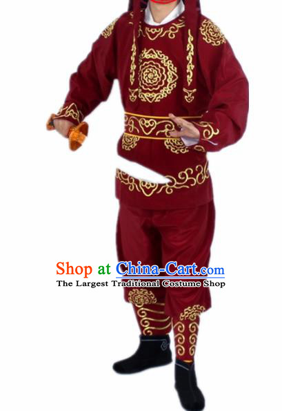 Chinese Traditional Peking Opera Takefu Wine Red Costumes Ancient Soldier Swordsman Clothing for Men