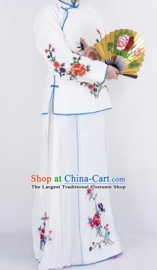 Chinese Traditional Peking Opera Young Lady Costumes Ancient Maidservants White Dress for Women