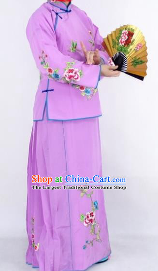 Chinese Traditional Peking Opera Young Lady Costumes Ancient Maidservants Purple Dress for Women