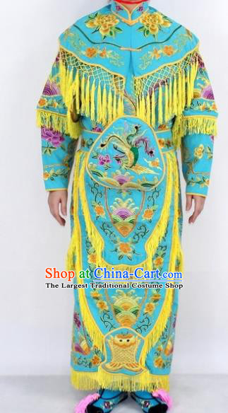 Chinese Traditional Peking Opera Young Lady Costumes Ancient Female General Blue Dress for Women