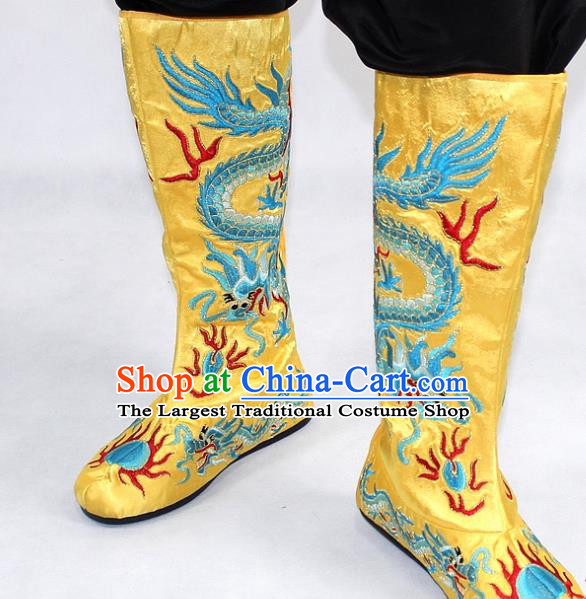 Chinese Traditional Beijing Opera Takefu Shoes Ancient Handmade Emperor Embroidered Dragons Yellow Boots for Men