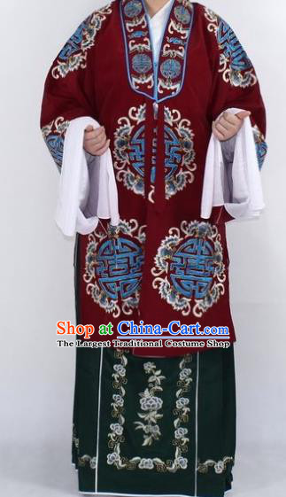 Chinese Traditional Peking Opera Pantaloon Costumes Ancient Landlord Shiva Wine Red Cloak for Women