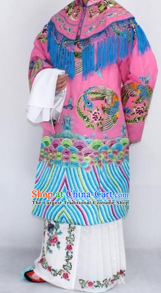 Chinese Traditional Peking Opera Empress Costumes Ancient Queen Pink Embroidered Robe for Women