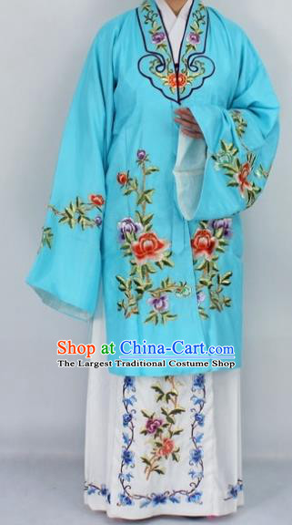 Chinese Traditional Peking Opera Nobility Lady Blue Costumes Ancient Princess Embroidered Cloak for Women