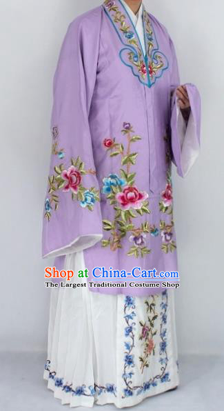 Chinese Traditional Peking Opera Nobility Lady Purple Costumes Ancient Princess Embroidered Cloak for Women