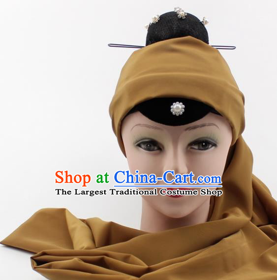 Chinese Traditional Peking Opera Pantaloon Hair Accessories Ancient Dowager Countess Khaki Headcloth for Women