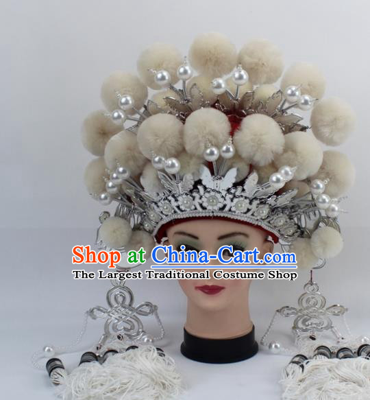 Chinese Traditional Peking Opera White Venonat Phoenix Coronet Ancient Bride Hair Accessories for Women