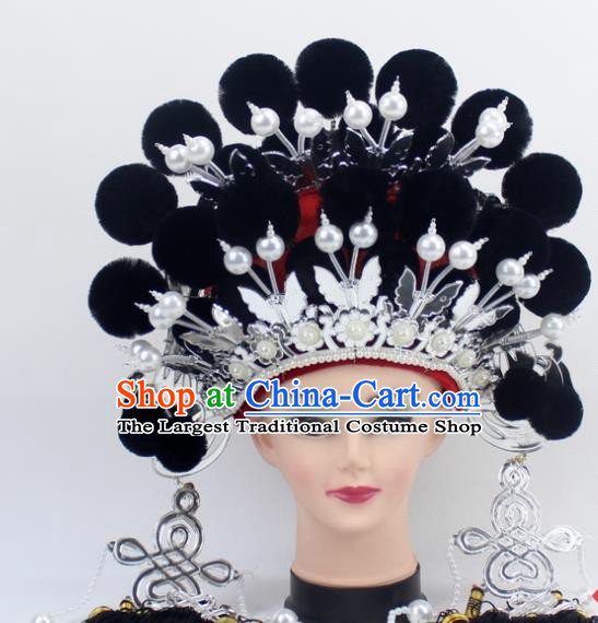 Chinese Traditional Peking Opera Black Venonat Phoenix Coronet Ancient Bride Hair Accessories for Women