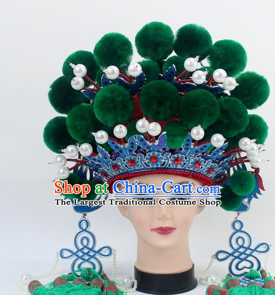 Chinese Traditional Peking Opera Green Venonat Phoenix Coronet Ancient Bride Hair Accessories for Women