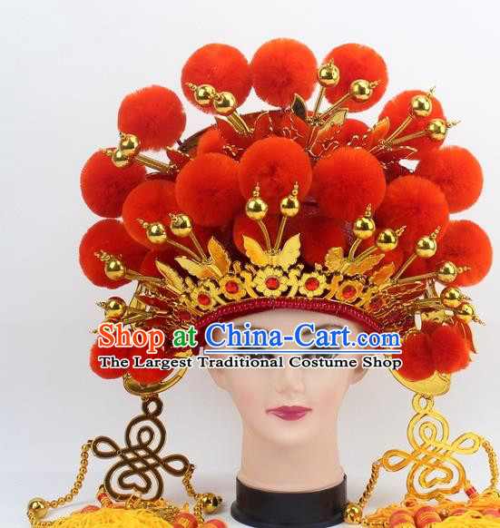Chinese Traditional Peking Opera Orange Venonat Phoenix Coronet Ancient Bride Hair Accessories for Women