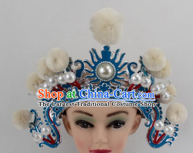 Chinese Traditional Peking Opera Blues White Venonat Helmet Ancient Magic Warriors Hat for Women