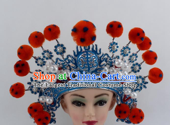 Chinese Traditional Peking Opera Takefu Orange Venonat Helmet Ancient Warriors Hat for Men