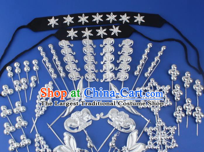 Chinese Traditional Peking Opera Actress Hair Accessories Ancient Sliver Hairpins Complete Set for Women