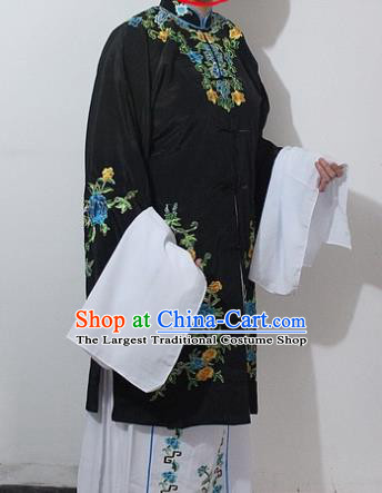 Chinese Traditional Peking Opera Actress Black Costumes Ancient Nobility Lady Embroidered Dress for Women