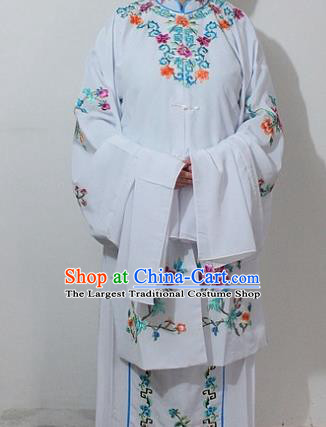 Chinese Traditional Peking Opera Actress White Costumes Ancient Nobility Lady Embroidered Dress for Women