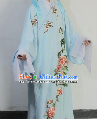 Chinese Traditional Peking Opera Niche Blue Robe Ancient Scholar Liang Shanbo Costume for Men
