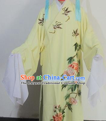 Chinese Traditional Peking Opera Niche Embroidered Yellow Robe Ancient Scholar Costume for Men