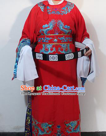 Chinese Traditional Peking Opera Scholar Red Embroidered Robe Ancient Minister Costume for Men