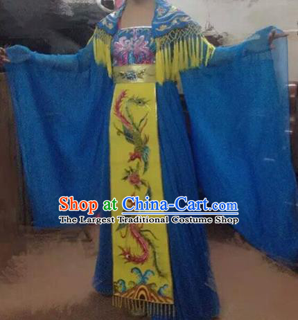 Traditional Chinese Classical Dance Costumes Ancient Tang Dynasty Imperial Consort Embroidered Blue Hanfu Dress for Women