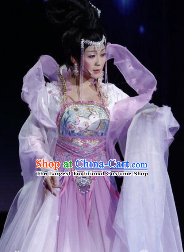 9a4fa4272 Traditional Chinese Classical Dance Embroidered Costumes Ancient Moon  Goddess Lilac Hanfu Dress for Women