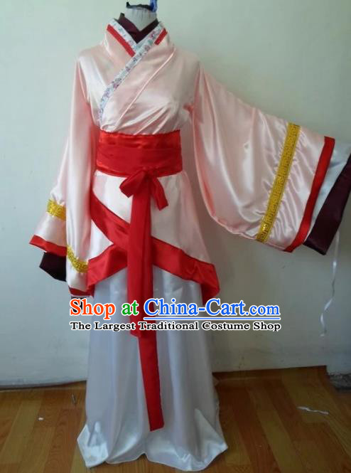 Traditional Chinese Han Dynasty Classical Dance Costumes Ancient Imperial Consort Pink Hanfu Dress for Women